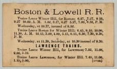 Boston & Lowell R. R., Perkins Collection 1873 to 1890c Railway Timetables and Tickets